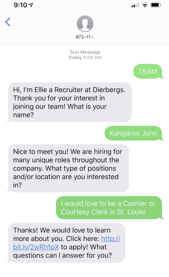 Dierbergs Markets recruiting chatbot