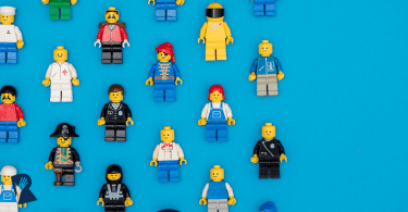 Lego figures on blue background