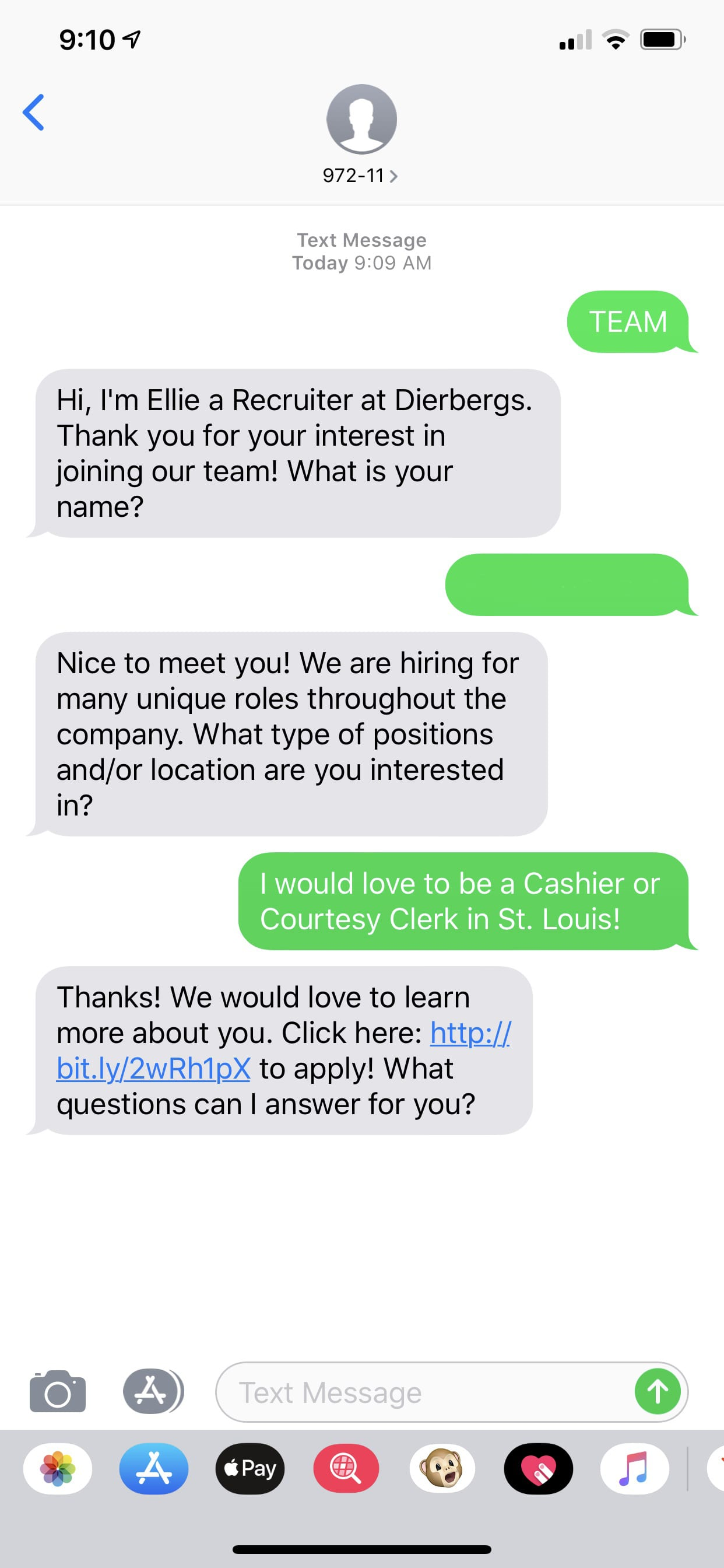 Text message conversation between employee and an automated recruiter assistant