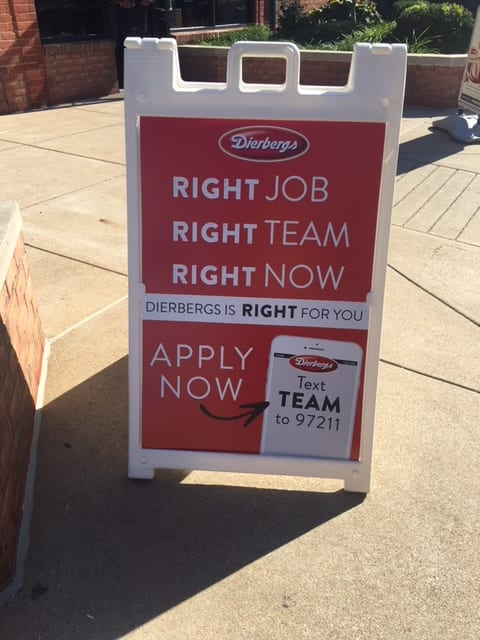 Dierbergs job promotion sign