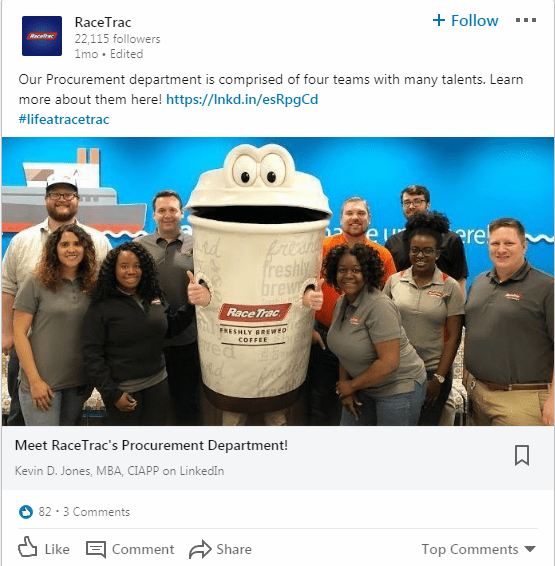 Employees with RaceTrac coffee mascot