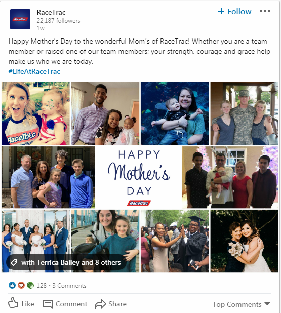 Happy Mother's Day collage dedicated to the mothers that work at RaceTrac