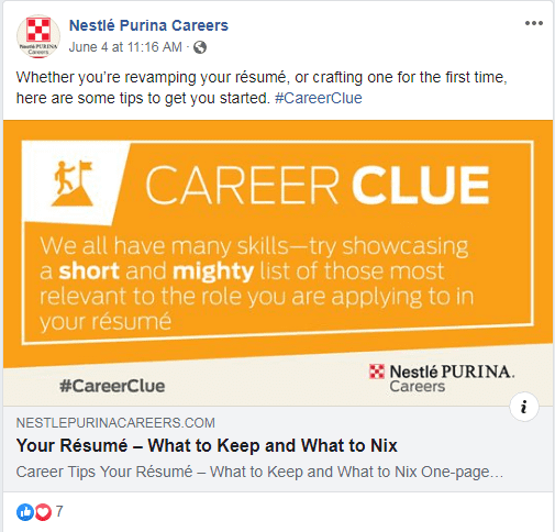 Nestle Purina Careers resume post