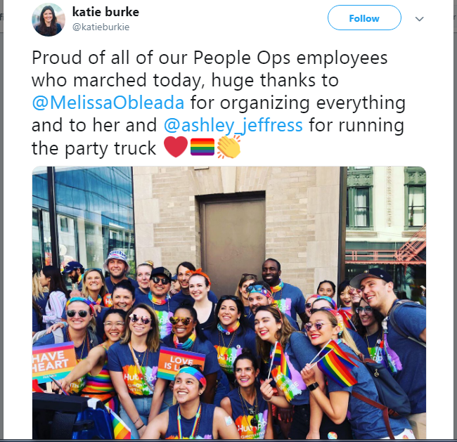 Great example of a tweet of shared content from Hubspot's Katie Burke