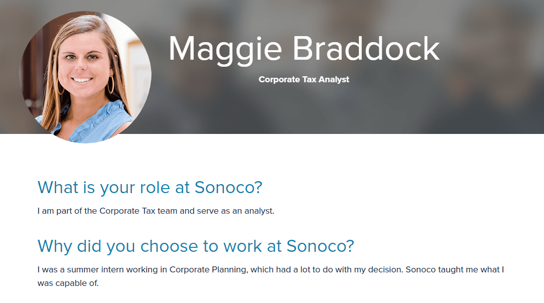 Profile of a female corporate tax analyst at Sonoco