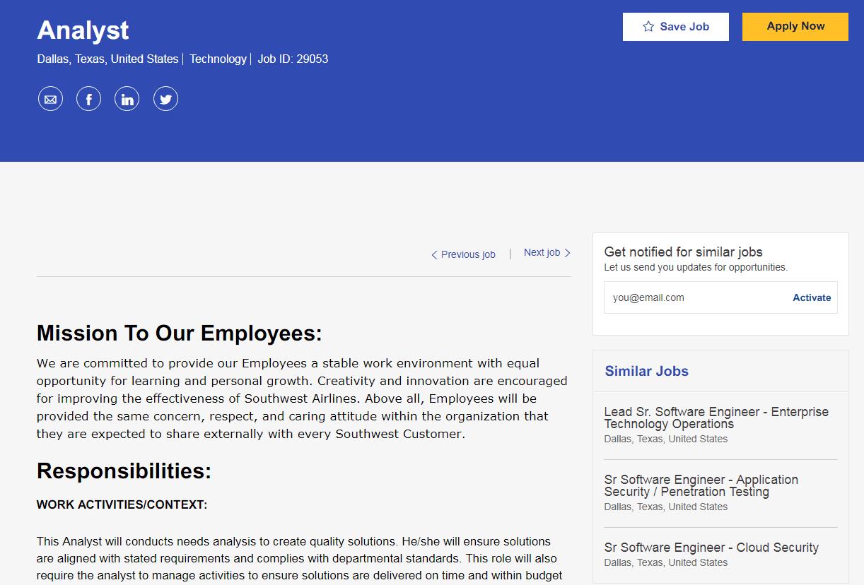 Analyst job description for Southwest Airlines