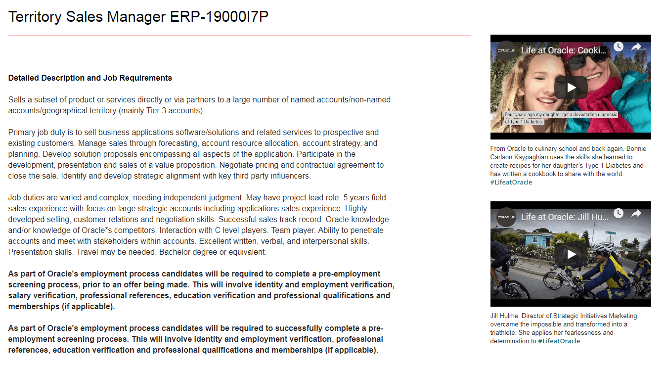 Employee videos in job description