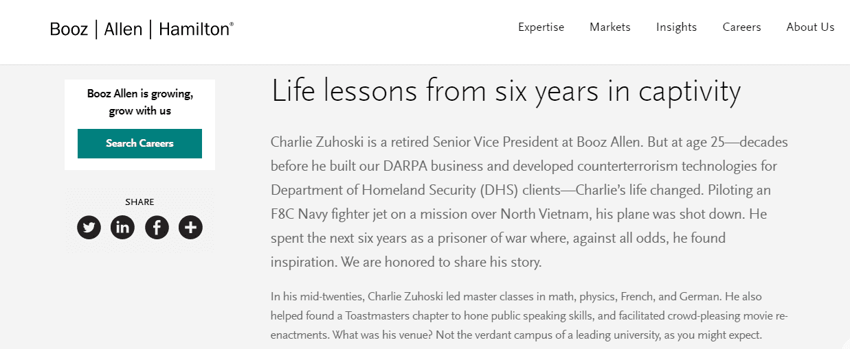 Booz Allen Hamilton veteran employee blogs