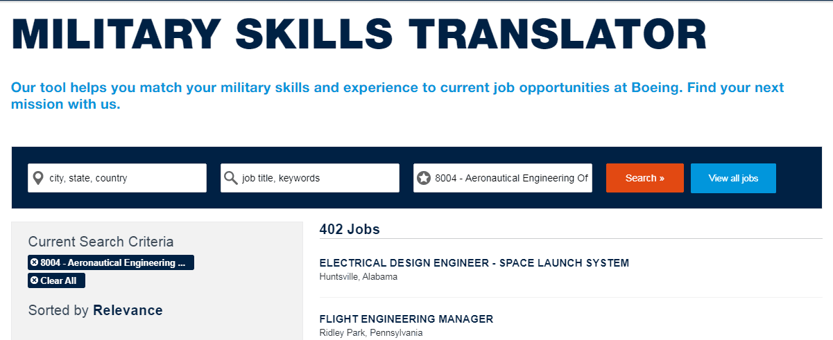 Boeing military skills translator