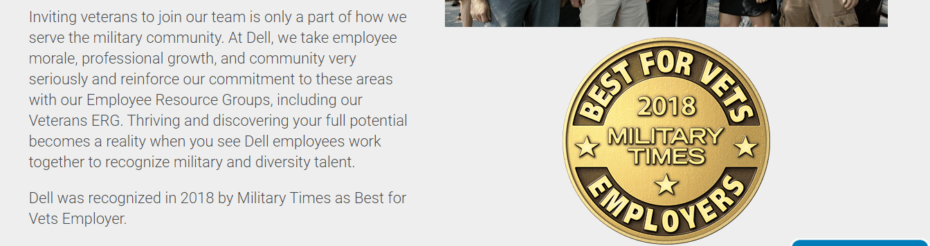 Dell veteran hiring award