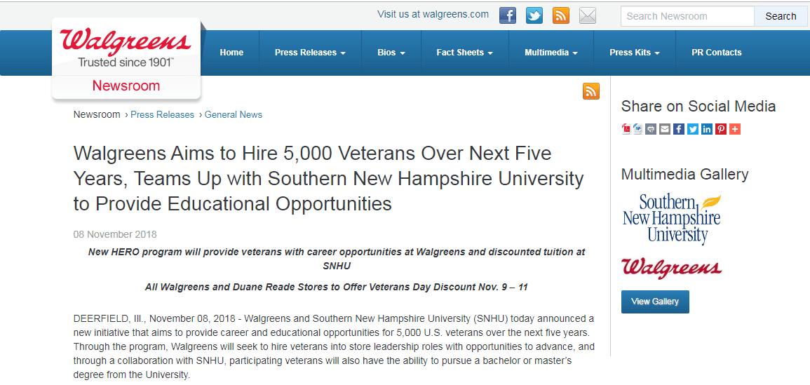 Walgreens veteran hiring