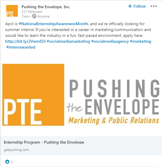 PTE National Internship Awareness Month