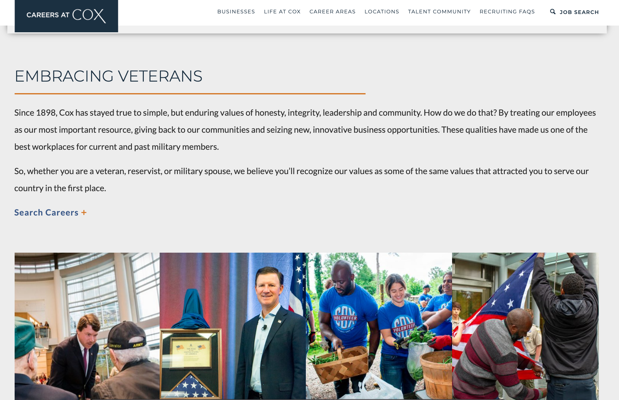 Veteran's Day webpage from Cox