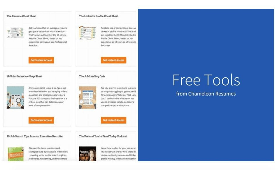 Free tools from Chameleon Resumes