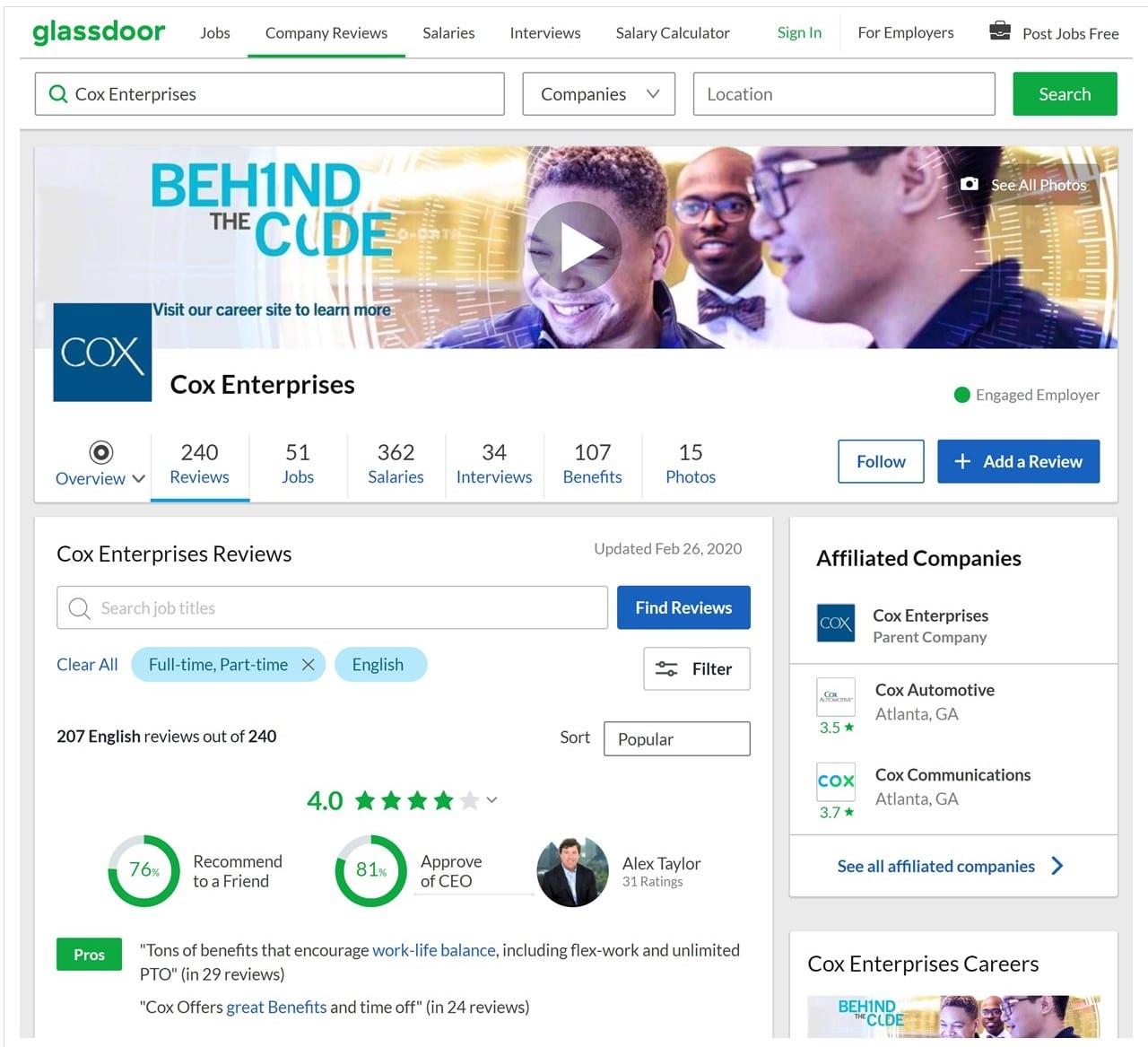 Cox Enterprises Glassdoor rating