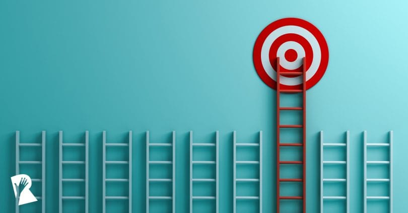 Red ladder leading up to a target in 3D rendering