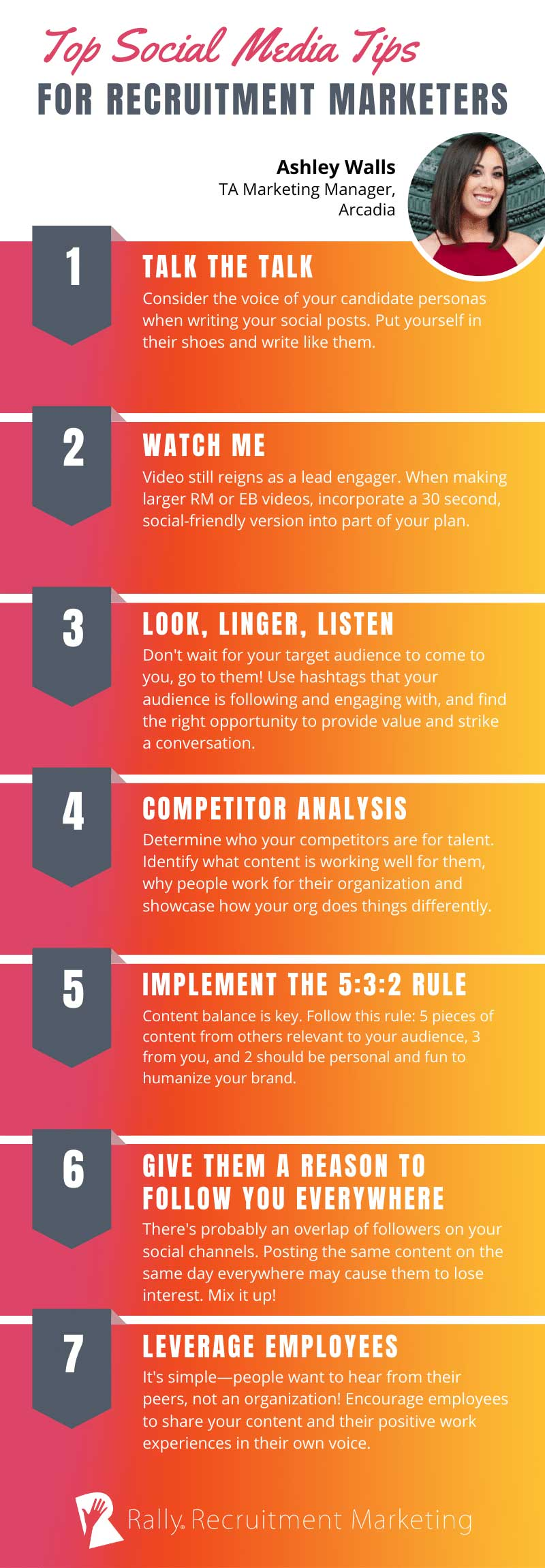 Infographic on social media tips for Recruitment Marketing