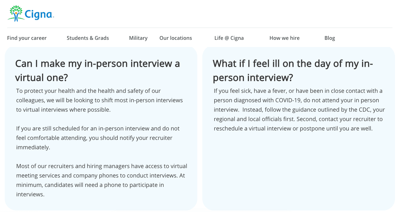 An example of Cigna's career site in response to COVID-19