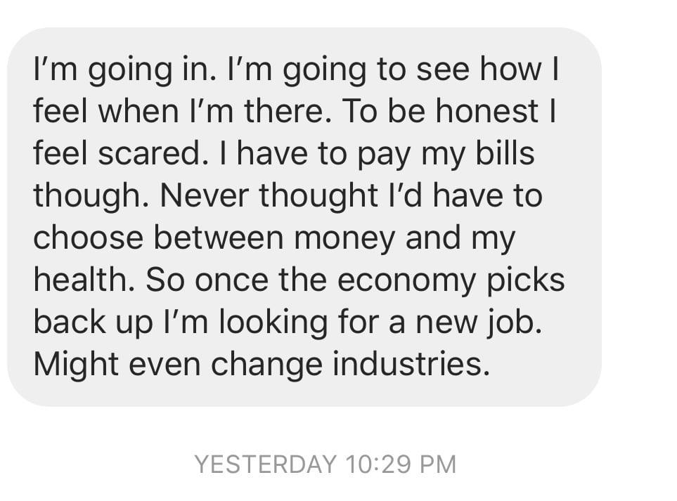 Text message from an employee whose employer is making them choose work over their health during COVID-19.