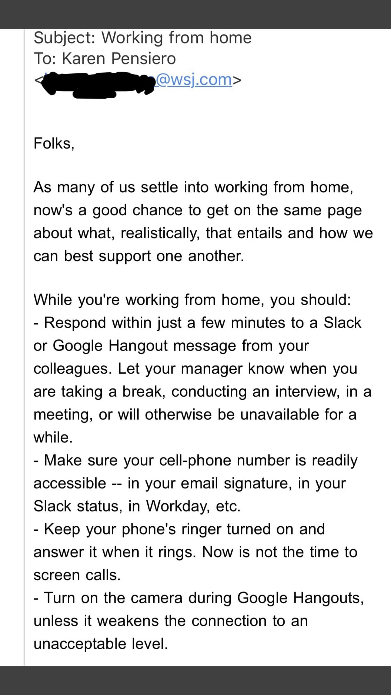 Example of corporate email about working from home