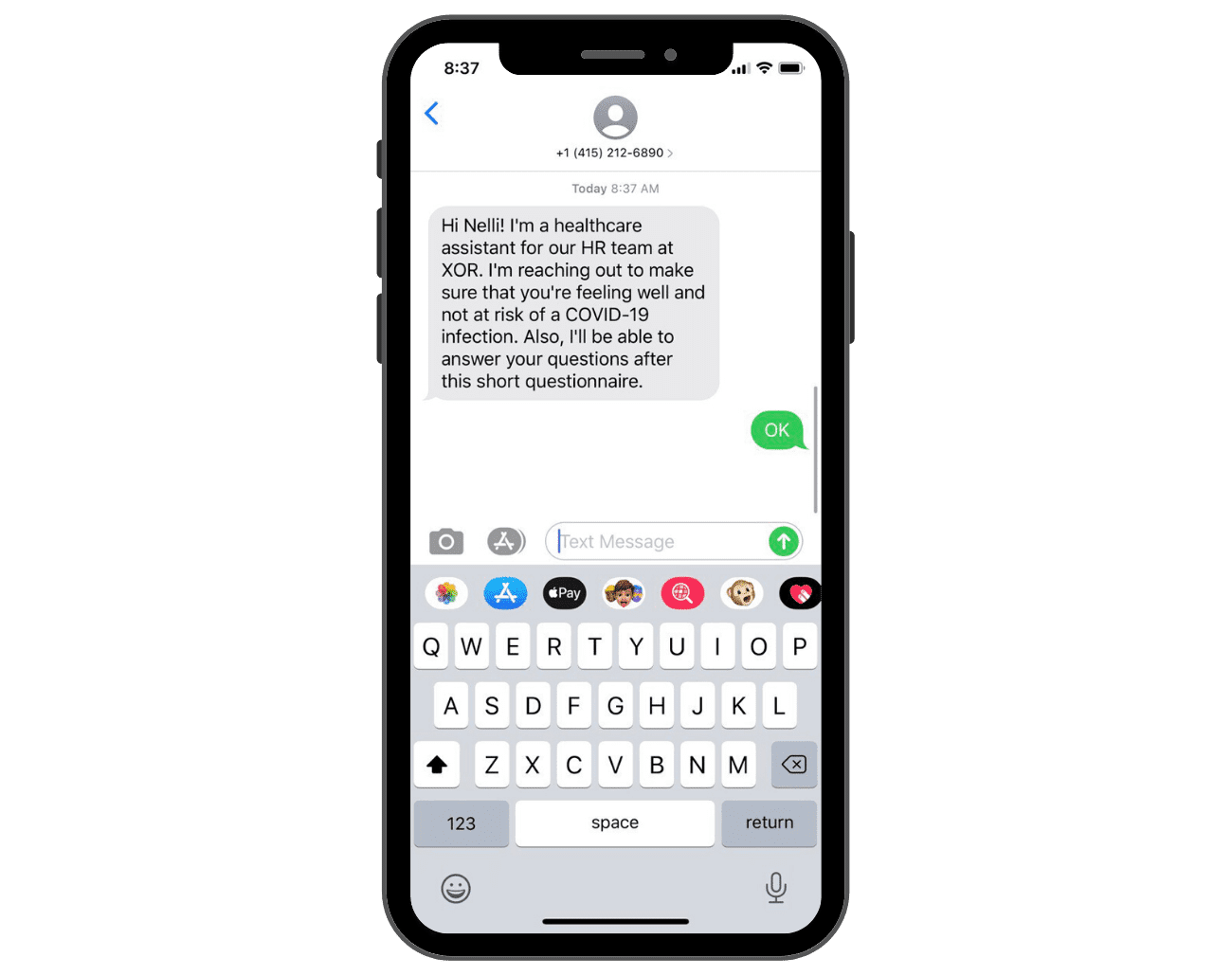 Text recruiting on mobile phone