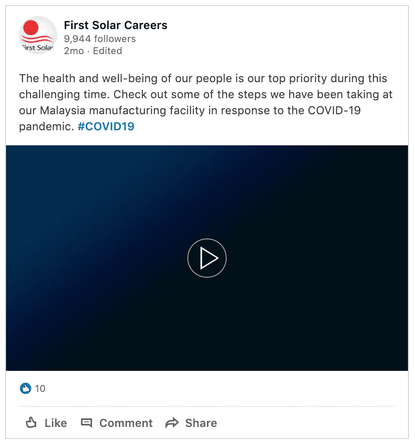 Example of Keeping Our People Safe First Solar LinkedIn Post