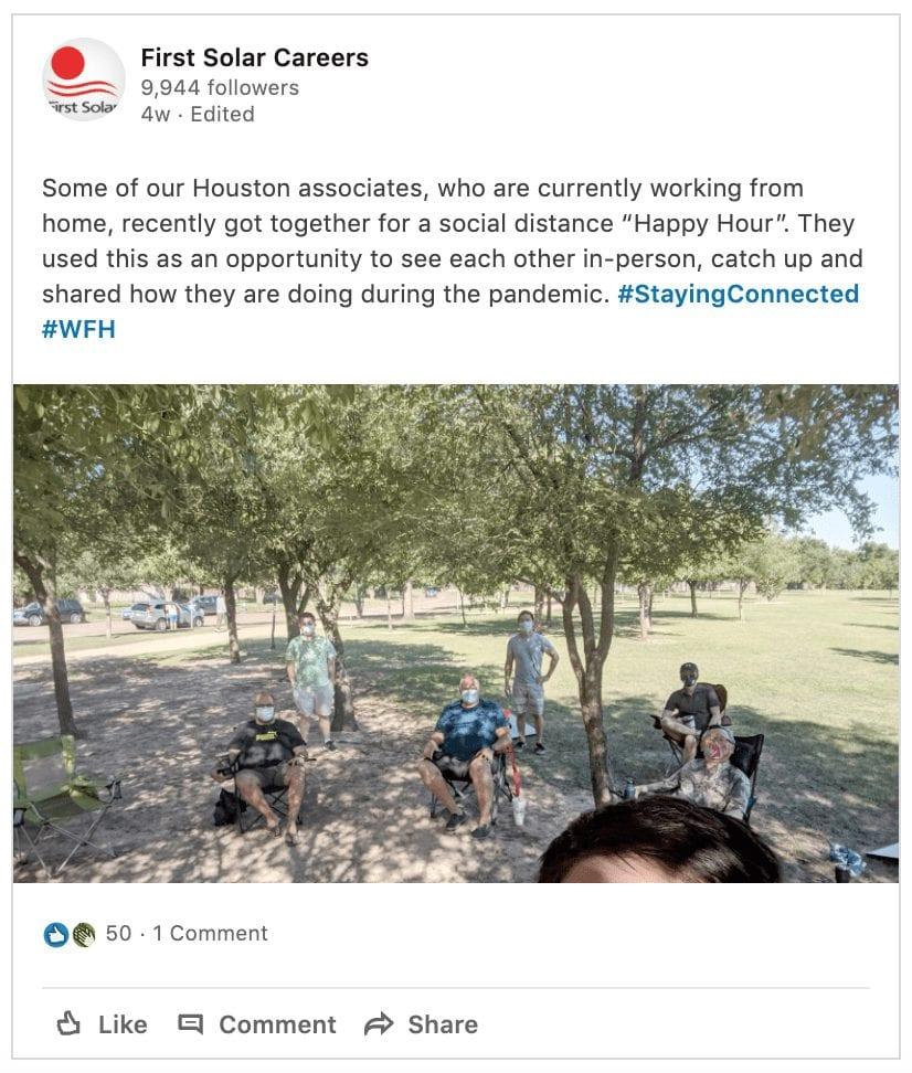 Screenshot of First Solar LinkedIn Post