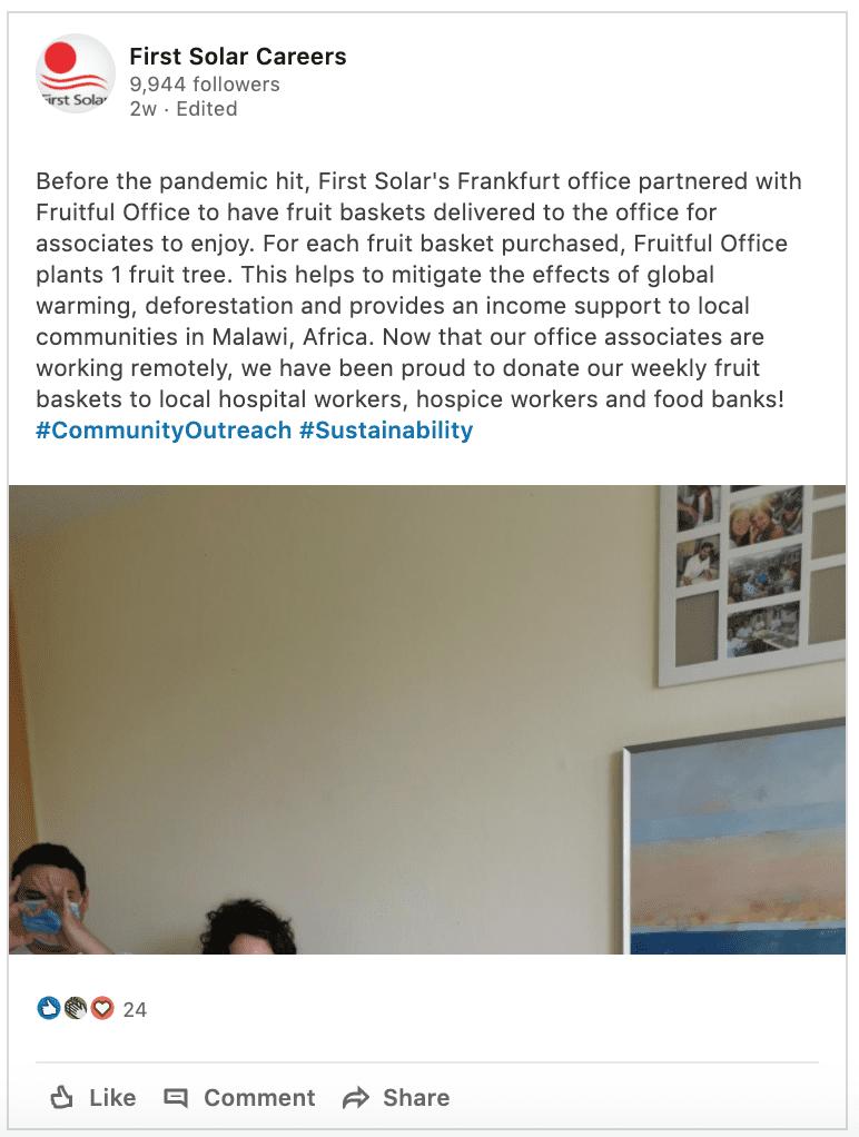 LinkedIn Screenshot of First Solar Post on Community Support
