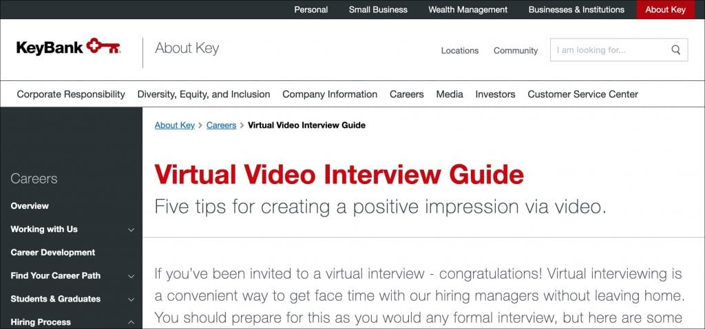 KeyBank's Virtual Interview Guide