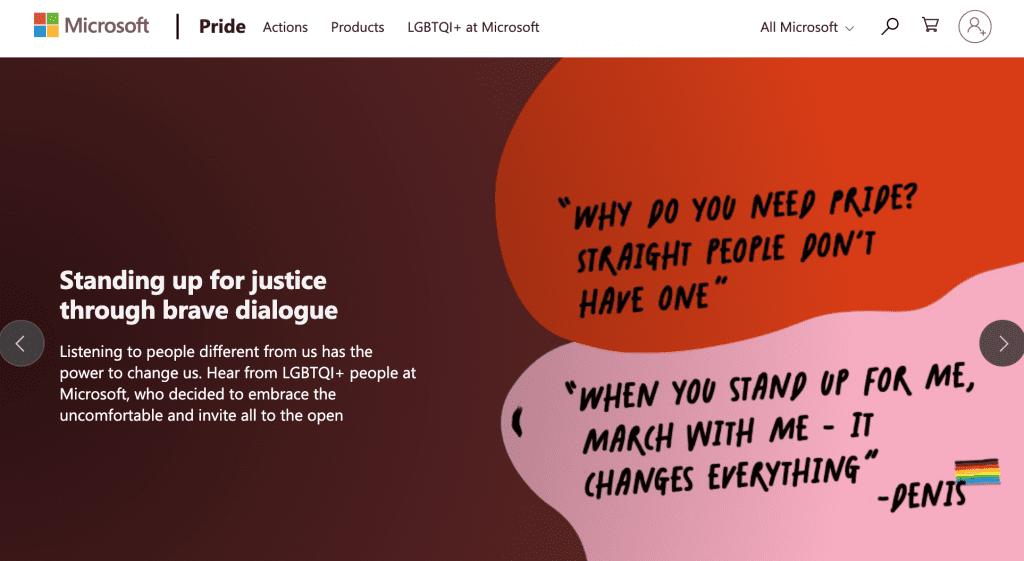 Screenshot of Microsoft Pride site
