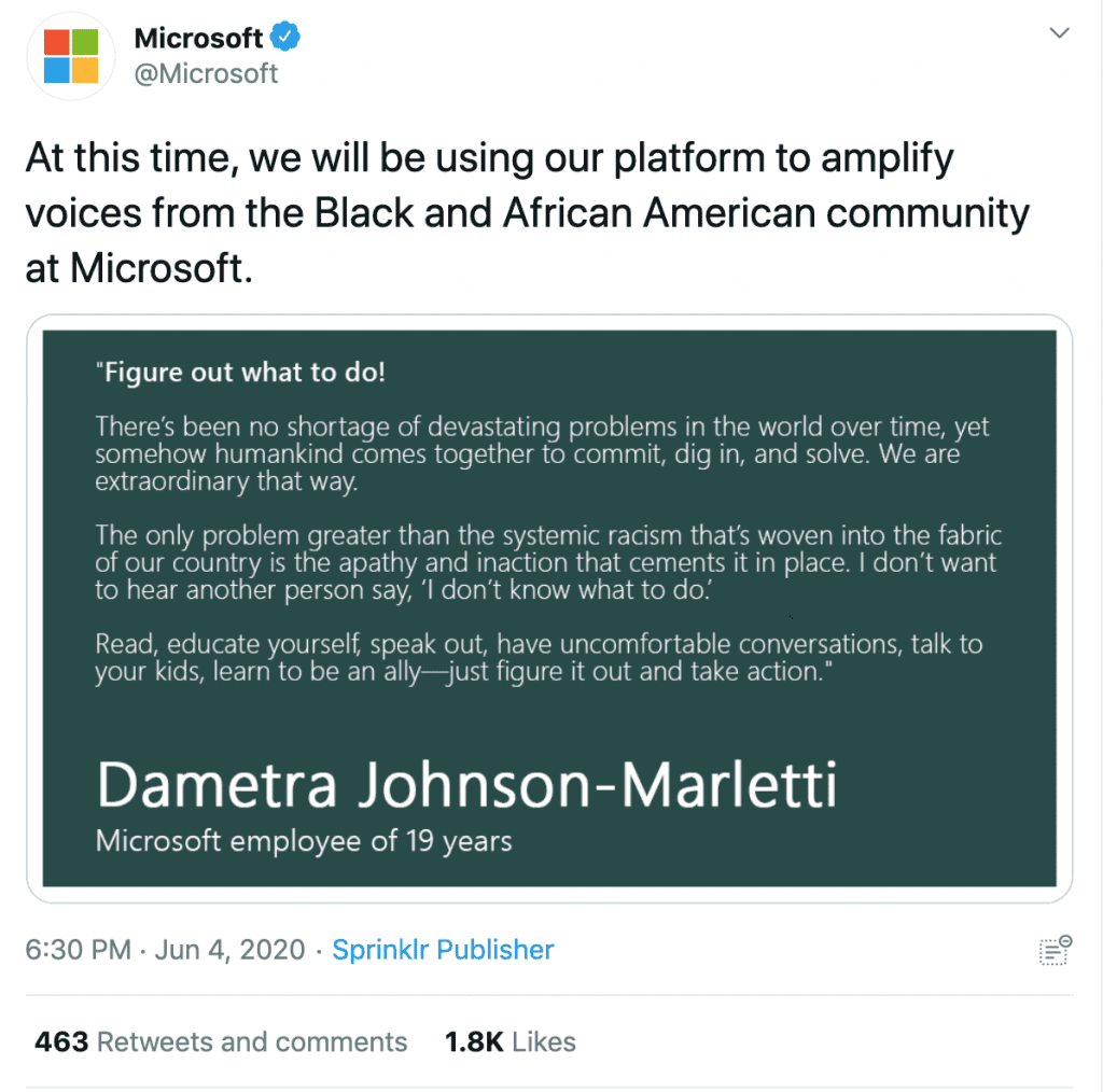 Microsoft Tweet in support of Black employees