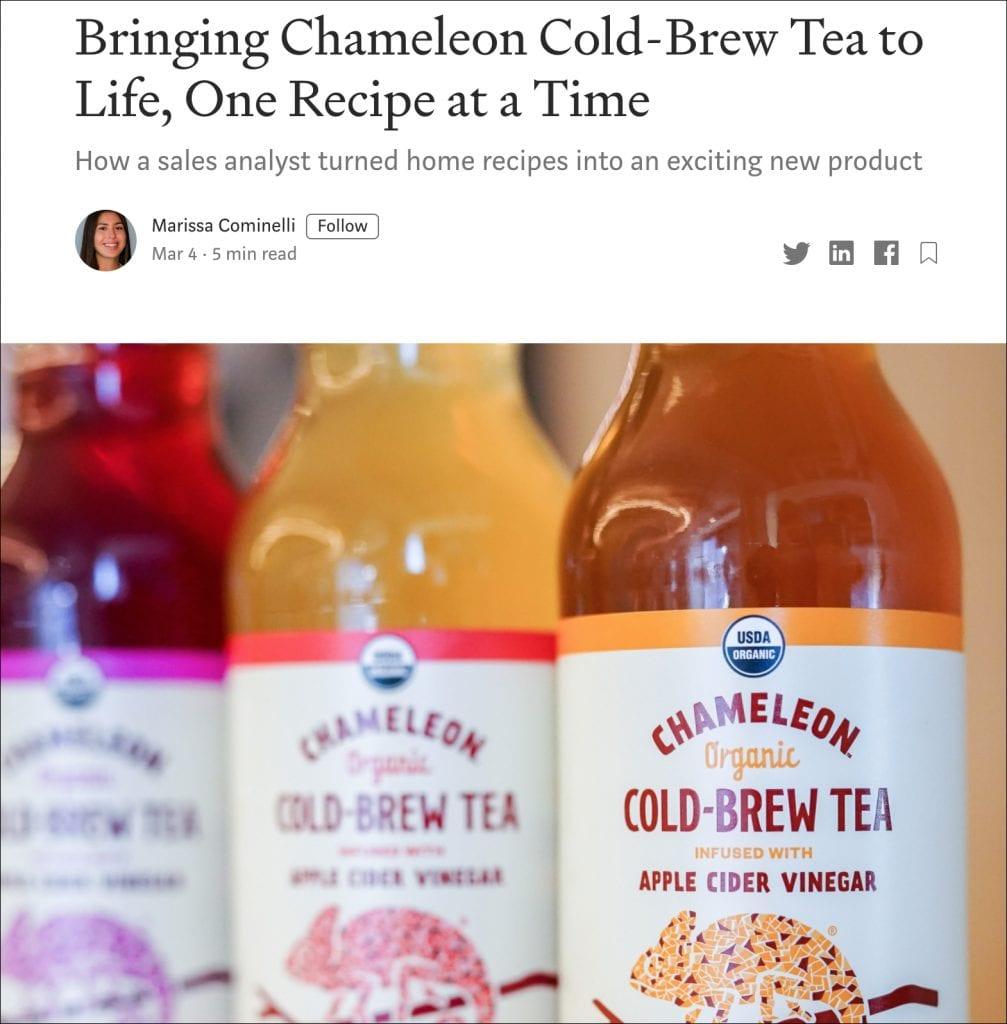 Medium article on Chameleon Coldbrew Tea.