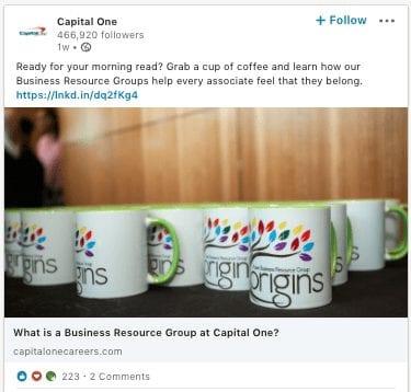 Capital One LinkedIn Post for Employee Blog