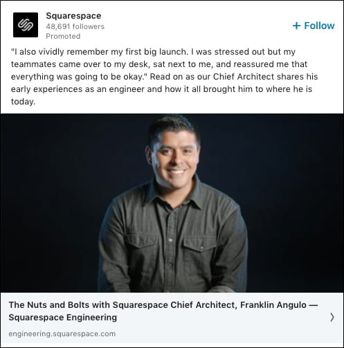 Squarespace Social AB Test Example 2