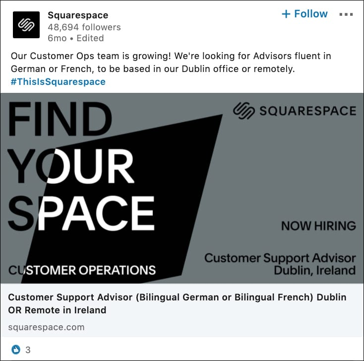 Squarespace Specific Job Posting