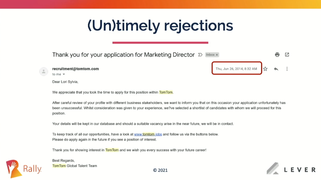 Untimely and generic rejections provide a bad candidate experience