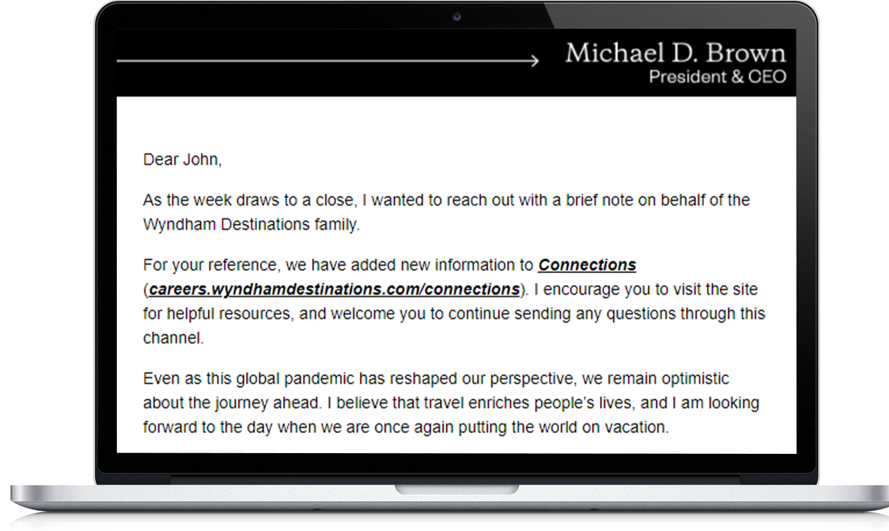 Wyndham Destinations email from CEO