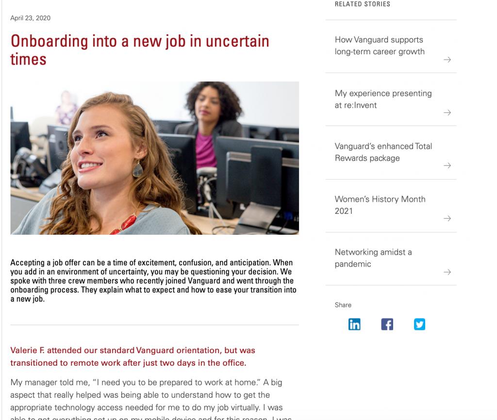 Vanguard Career blog