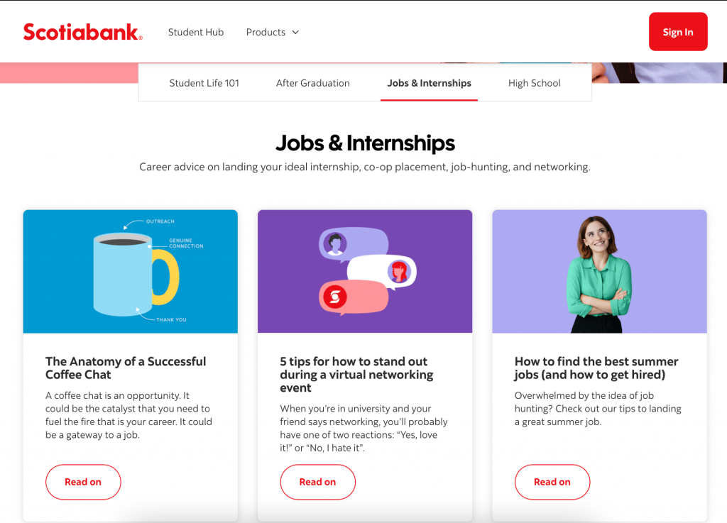 Scotiabank StudentHub section on careers site