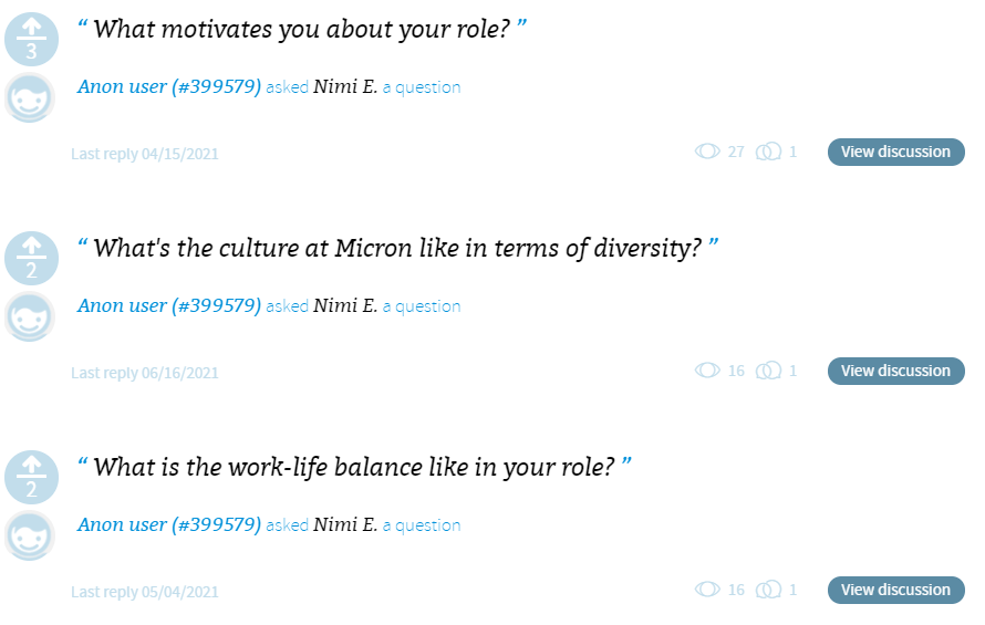 Micron lets candidates address questions to specific employees in specific roles
