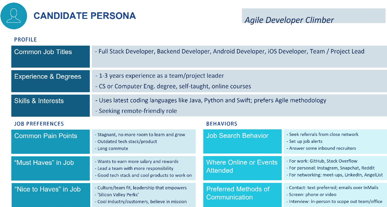 completed candidate persona for agile developer
