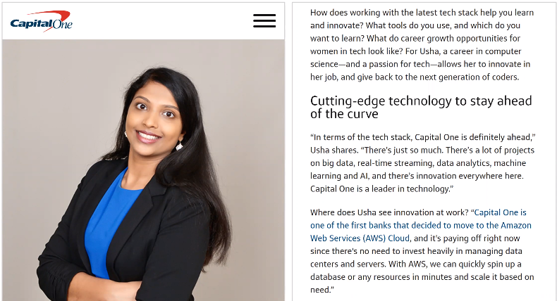 blog post Capital One's tech stack from perspective of employee