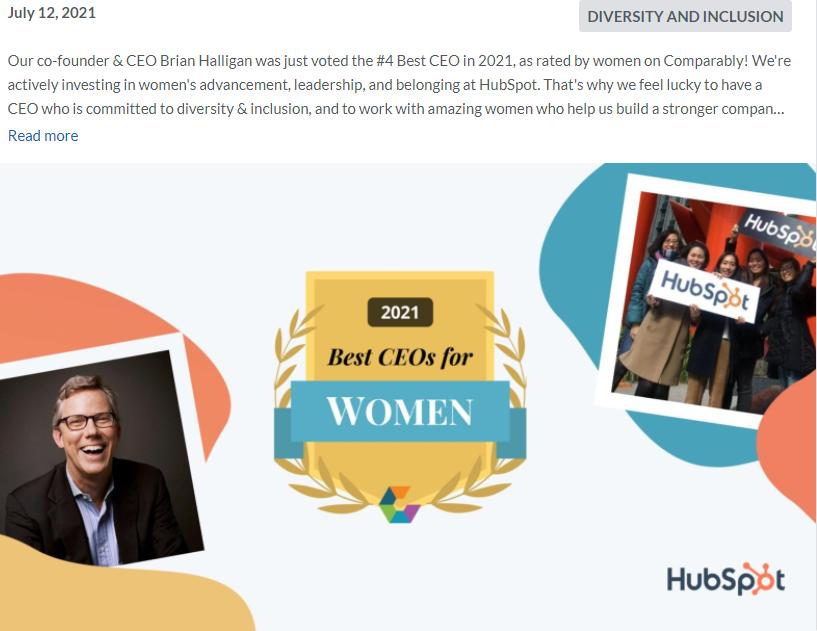 Glassdoor update from Hubspot highlighting Best CEO in 2021