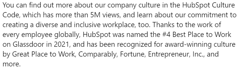 Hubspot includes section in job ads about workplace awards