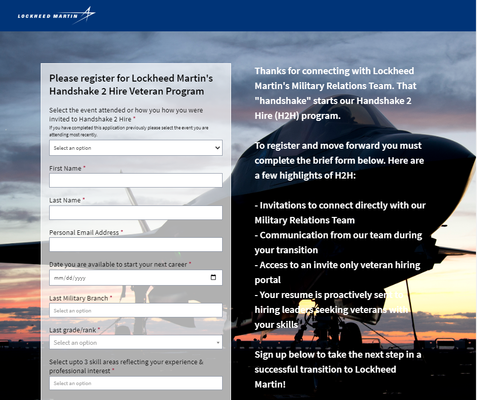 H2H candidates landing page
