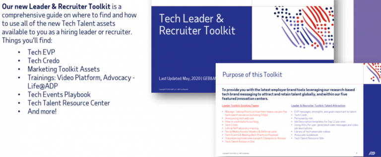 one-pager provided to recruiters and hiring managers at ADP